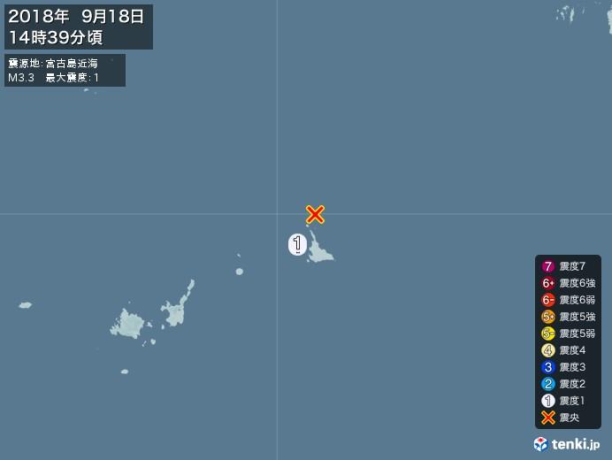 地震情報(2018年09月18日14時39分発生)