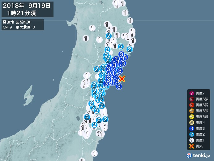 地震情報(2018年09月19日01時21分発生)