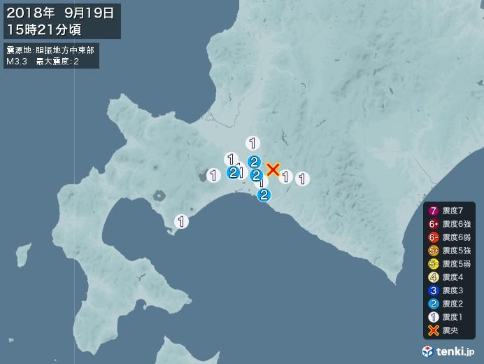 地震情報(2018年09月19日15時21分発生)