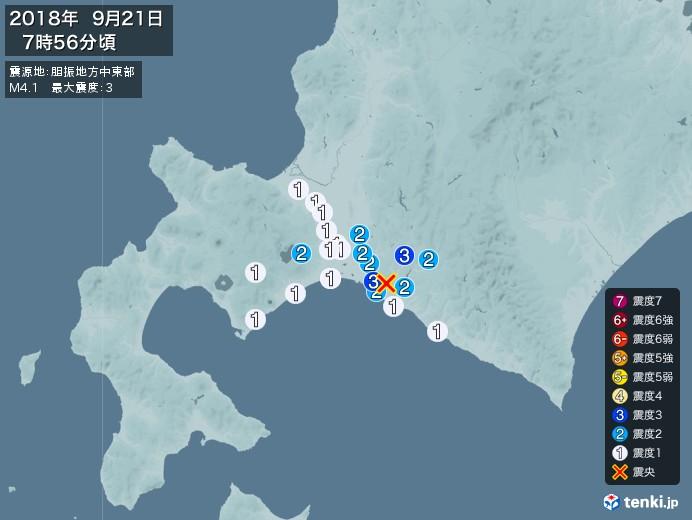 地震情報(2018年09月21日07時56分発生)
