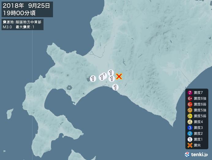 地震情報(2018年09月25日19時00分発生)