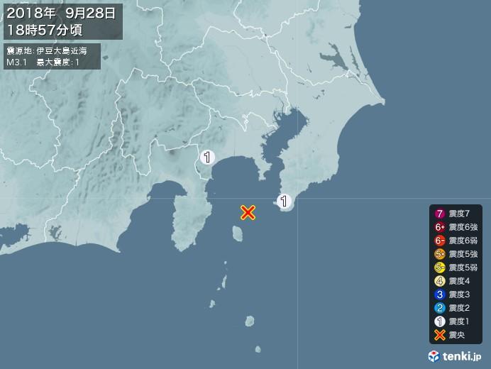 地震情報(2018年09月28日18時57分発生)