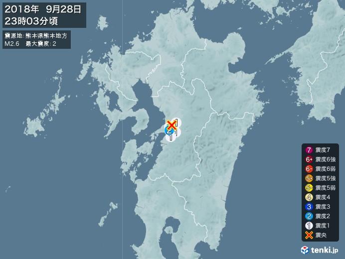 地震情報(2018年09月28日23時03分発生)
