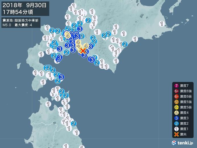 地震情報(2018年09月30日17時54分発生)