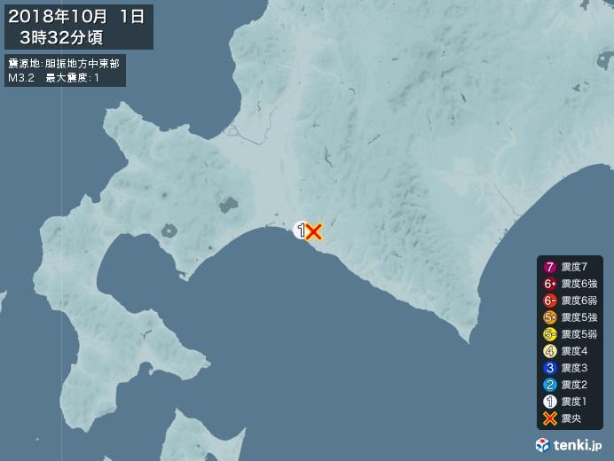 地震情報(2018年10月01日03時32分発生)