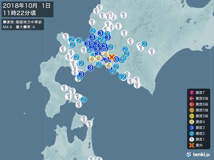 地震情報(2018年10月01日11時22分発生)