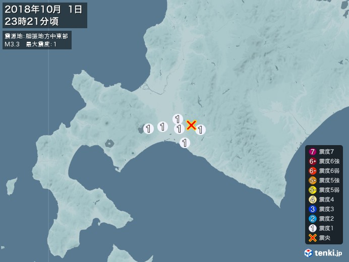 地震情報(2018年10月01日23時21分発生)