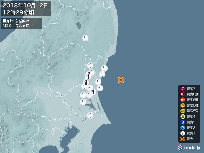地震情報(2018年10月02日12時29分発生)