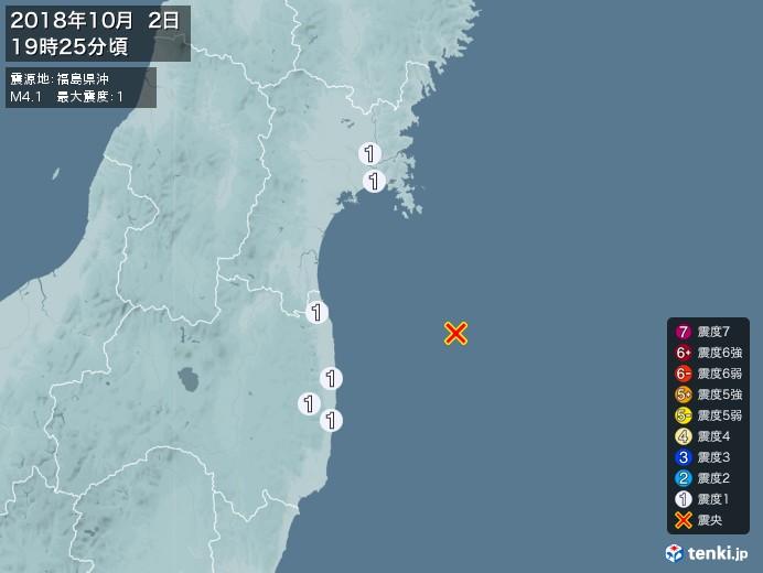 地震情報(2018年10月02日19時25分発生)