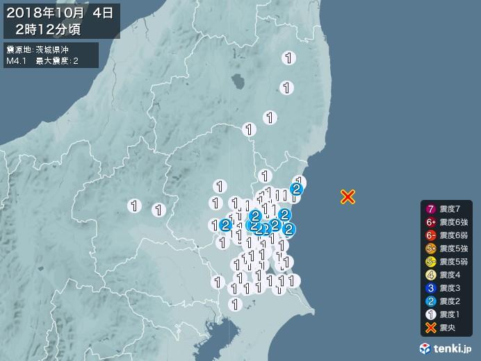地震情報(2018年10月04日02時12分発生)