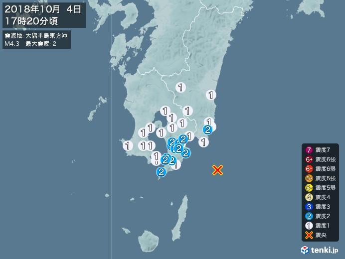 地震情報(2018年10月04日17時20分発生)