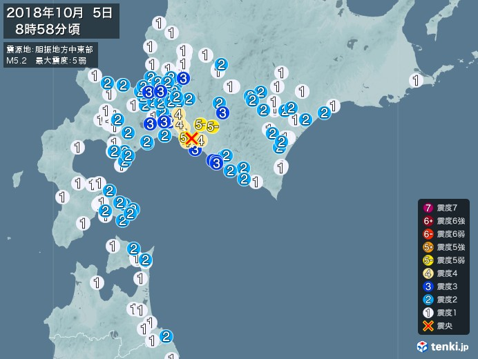地震情報(2018年10月05日08時58分発生)