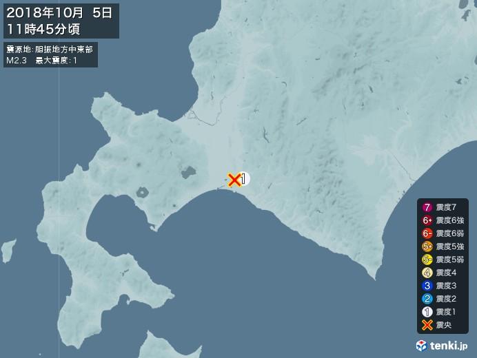地震情報(2018年10月05日11時45分発生)