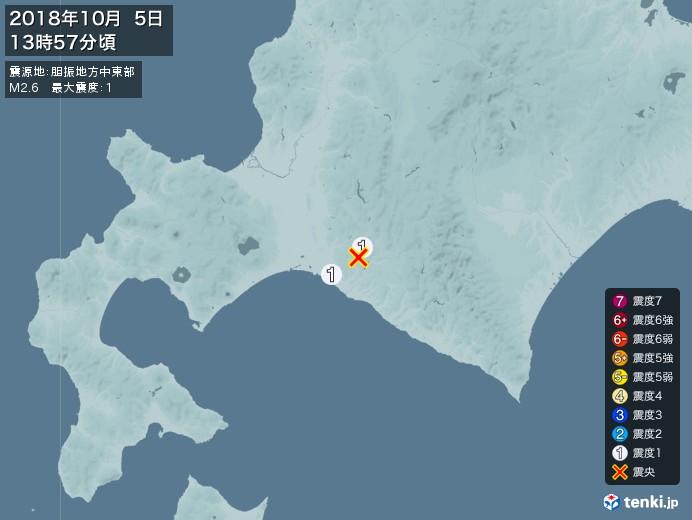 地震情報(2018年10月05日13時57分発生)