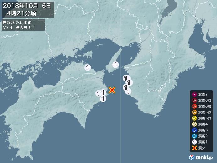 地震情報(2018年10月06日04時21分発生)