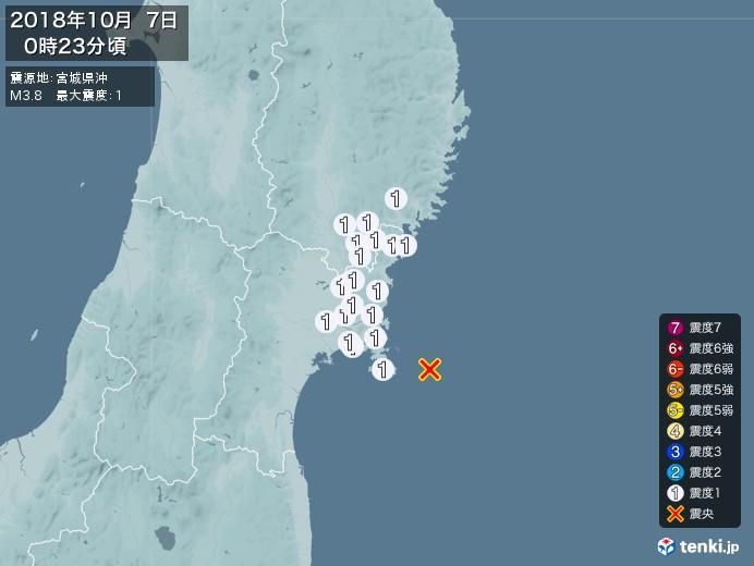 地震情報(2018年10月07日00時23分発生)
