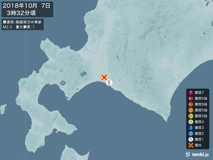 地震情報(2018年10月07日03時32分発生)