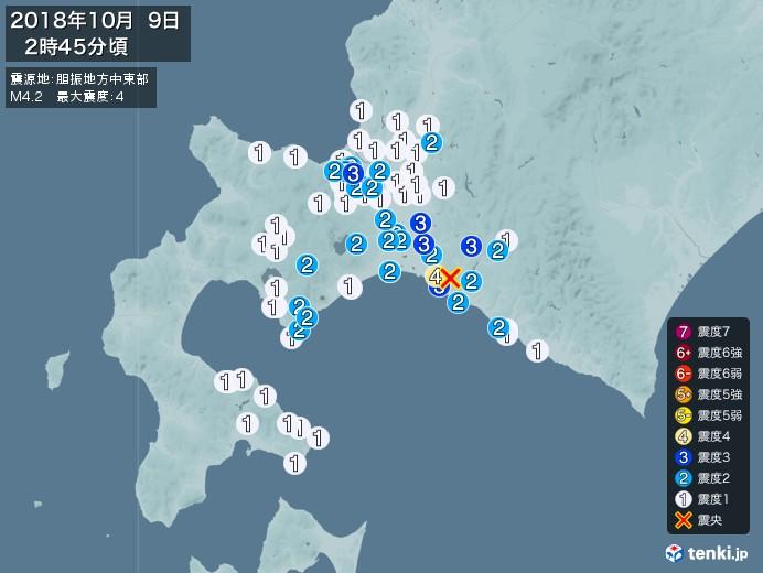地震情報(2018年10月09日02時45分発生)