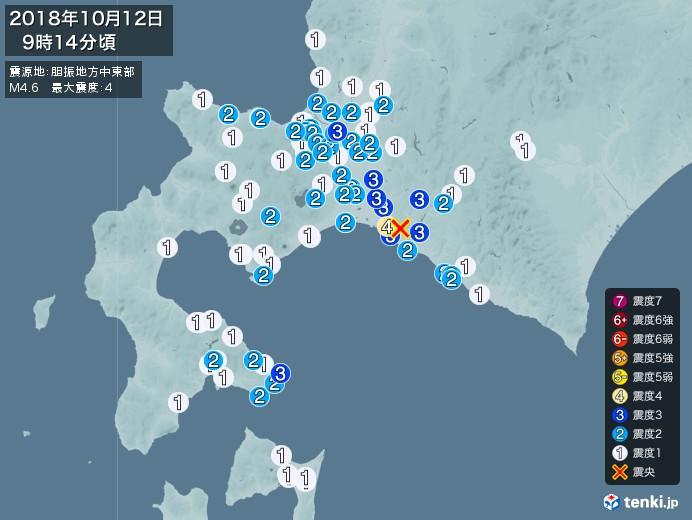 地震情報(2018年10月12日09時14分発生)
