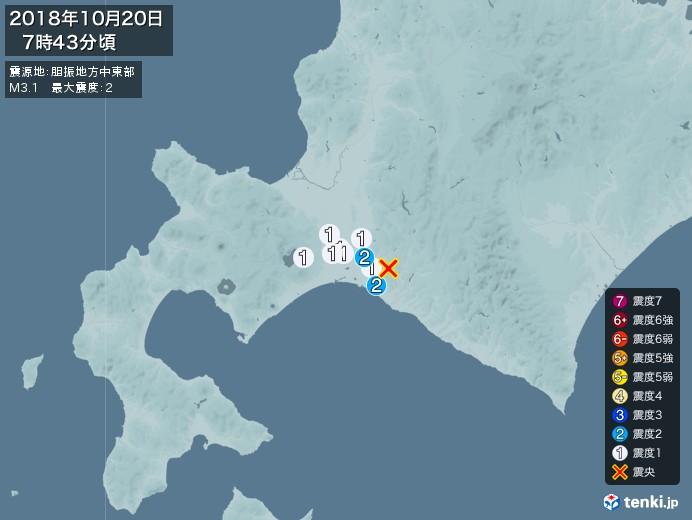 地震情報(2018年10月20日07時43分発生)