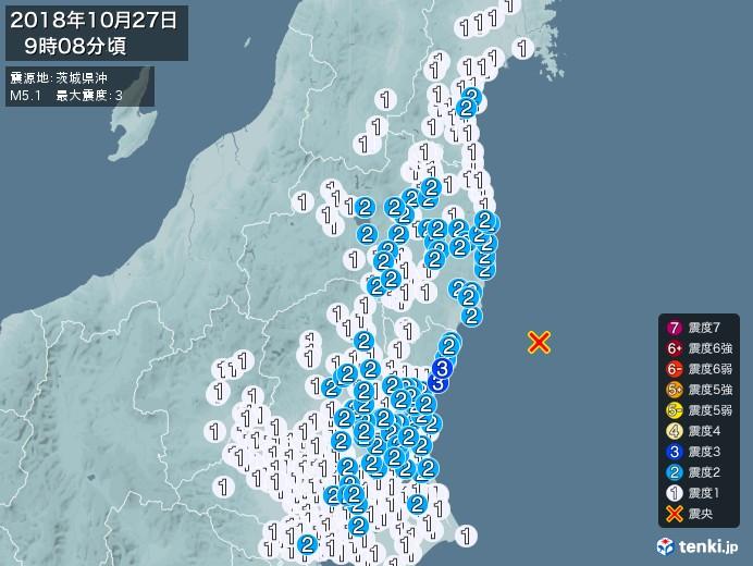 地震情報(2018年10月27日09時08分発生)
