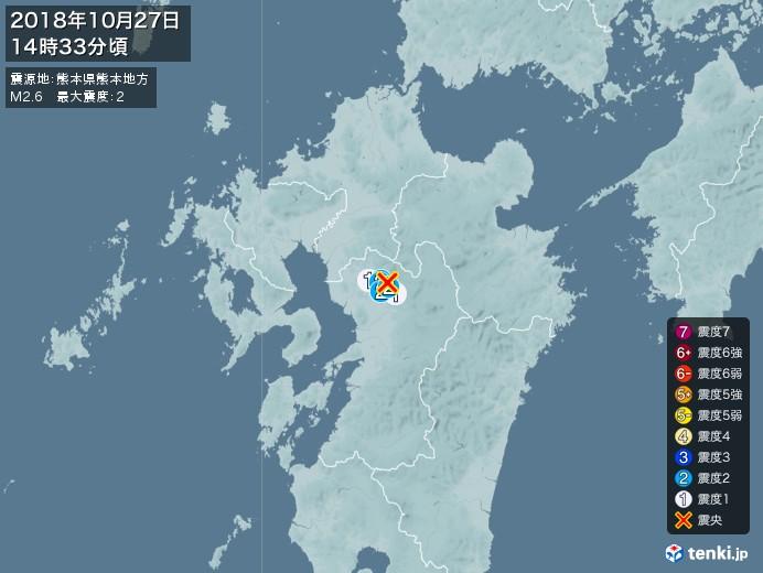 地震情報(2018年10月27日14時33分発生)