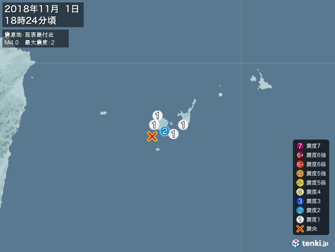 地震情報(2018年11月01日18時24分発生)