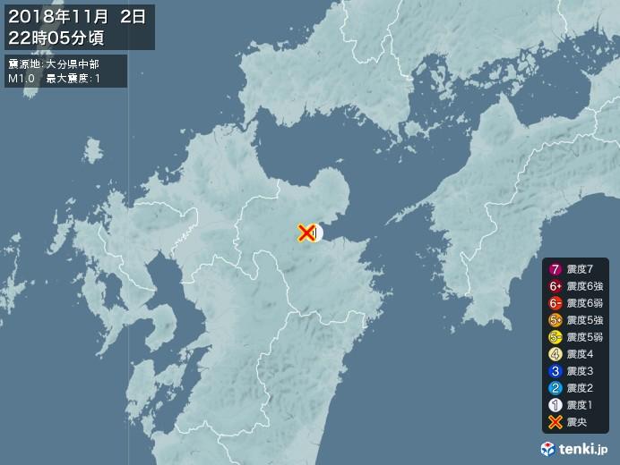 地震情報(2018年11月02日22時05分発生)
