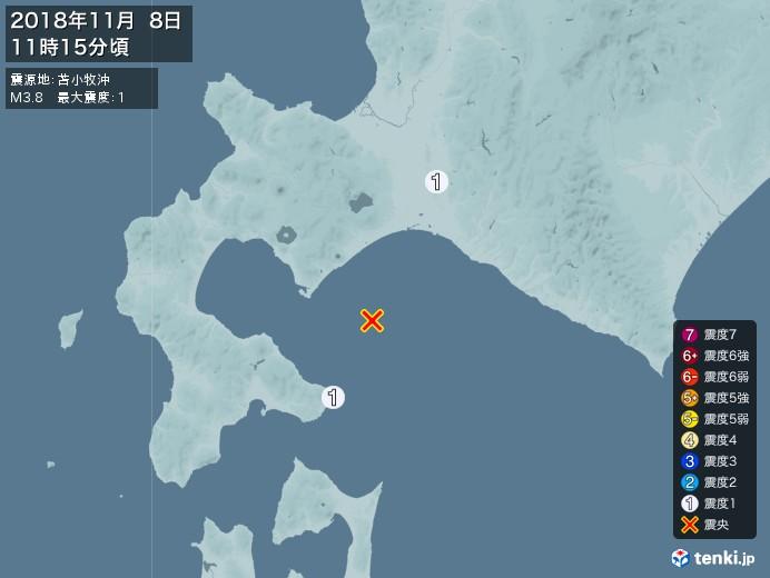 地震情報(2018年11月08日11時15分発生)