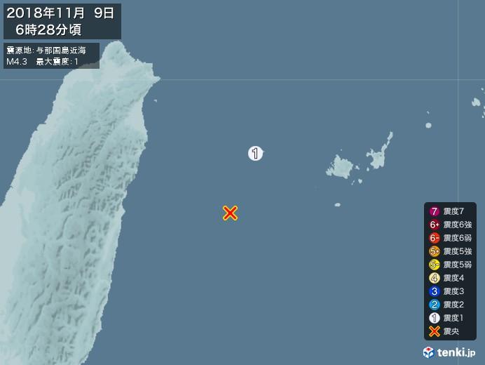 地震情報(2018年11月09日06時28分発生)