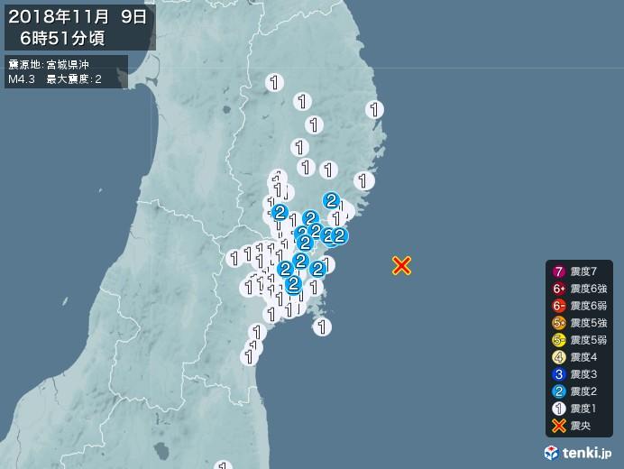 地震情報(2018年11月09日06時51分発生)