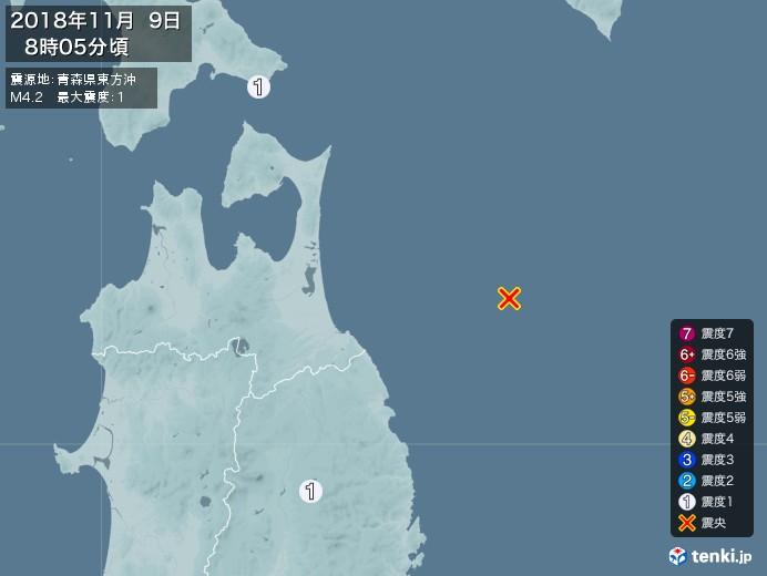 地震情報(2018年11月09日08時05分発生)