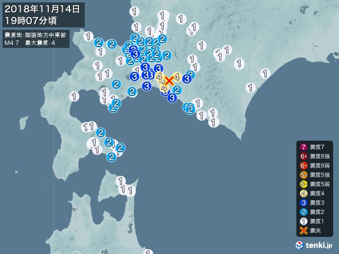 地震情報(2018年11月14日19時07分発生)