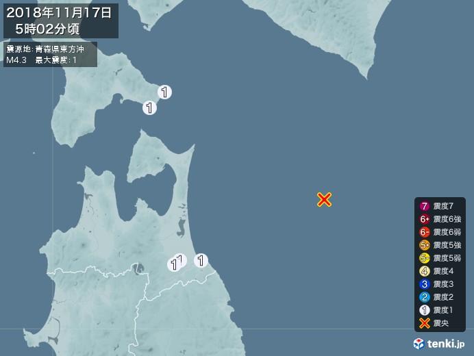 地震情報(2018年11月17日05時02分発生)