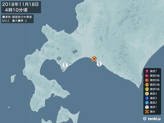 地震情報(2018年11月18日04時10分発生)