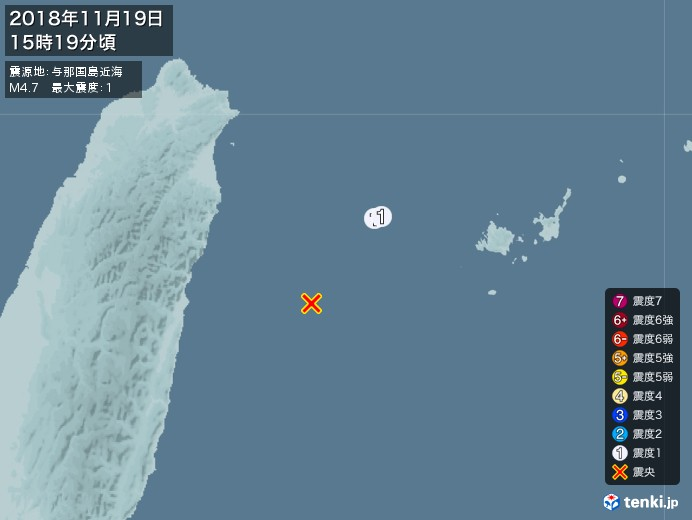地震情報(2018年11月19日15時19分発生)