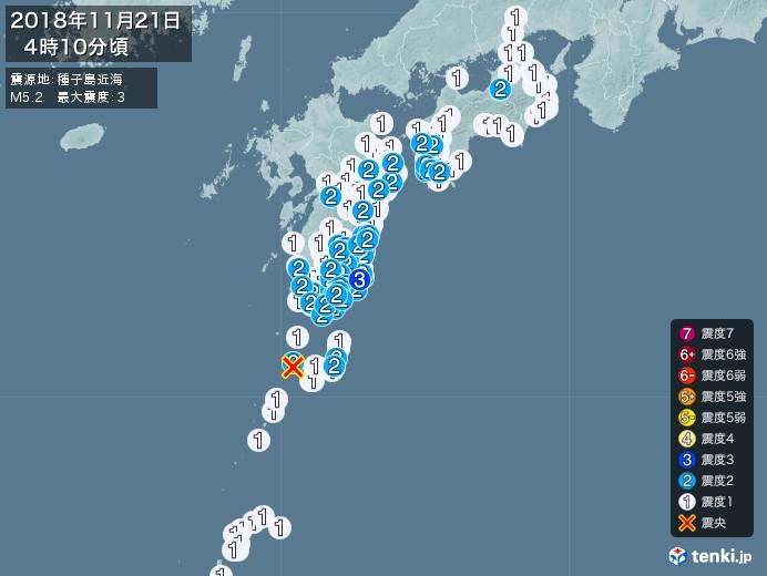 地震情報(2018年11月21日04時10分発生)