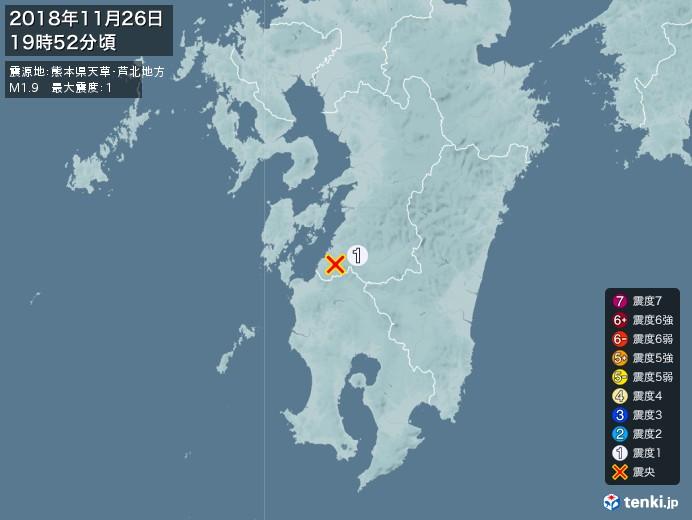 地震情報(2018年11月26日19時52分発生)