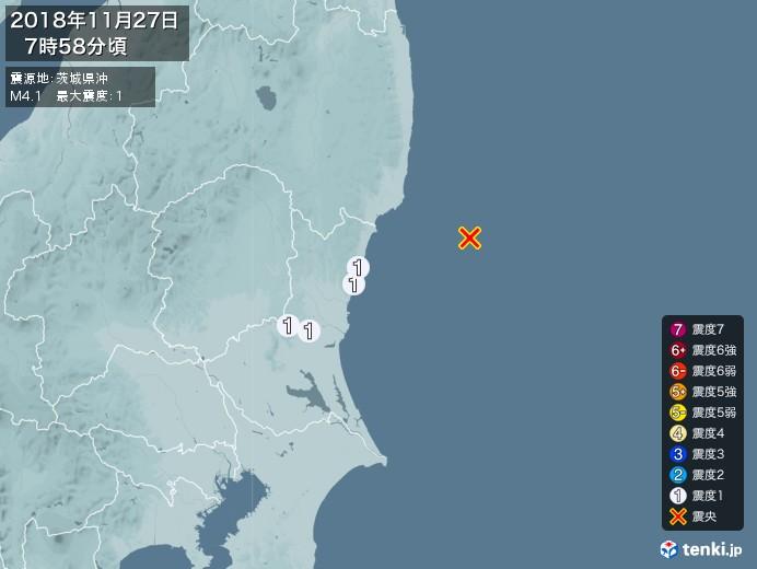 地震情報(2018年11月27日07時58分発生)