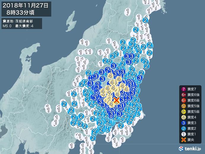 地震情報(2018年11月27日08時33分発生)