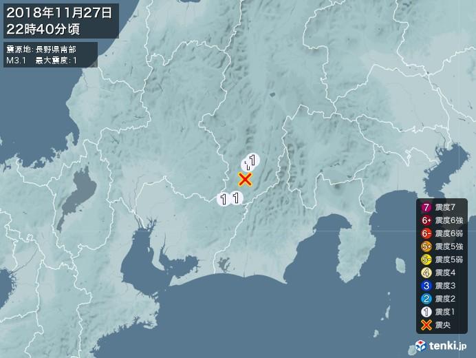 地震情報(2018年11月27日22時40分発生)