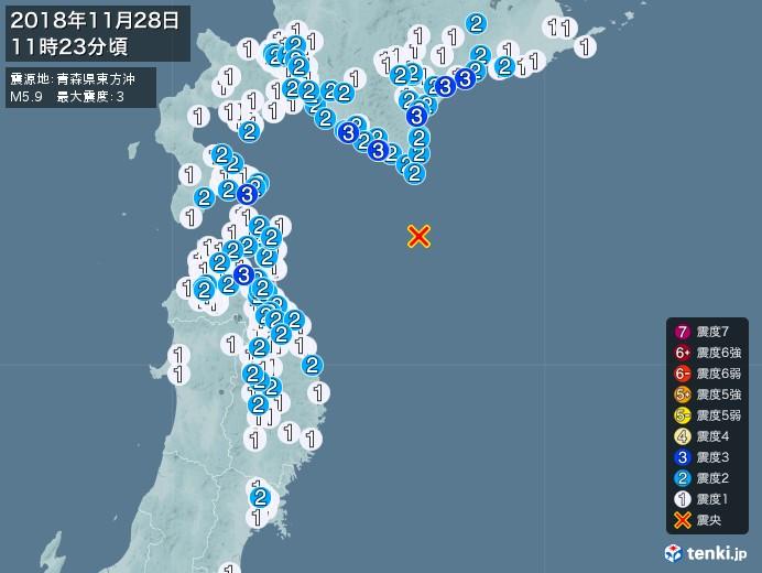 地震情報(2018年11月28日11時23分発生)