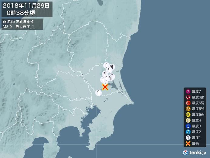 地震情報(2018年11月29日00時38分発生)
