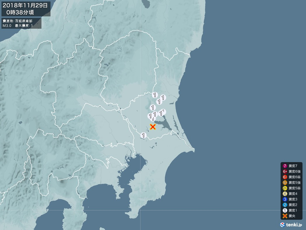 地震情報 2018年11月29日 00時38分頃発生 最大震度:1 震源地:茨城県南部(拡大画像)