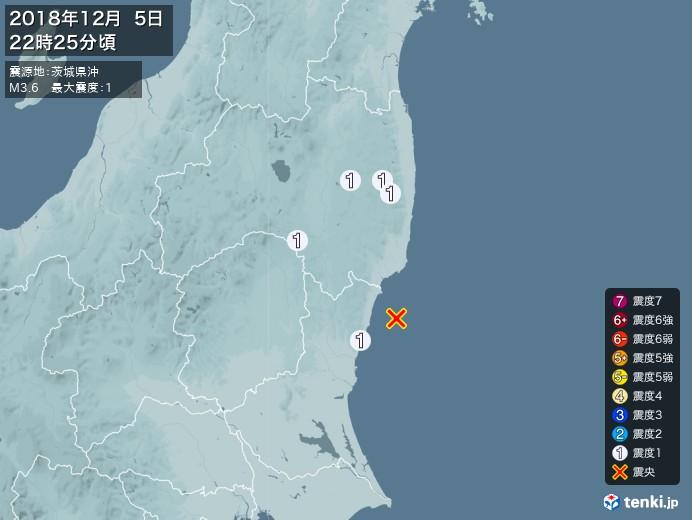 地震情報(2018年12月05日22時25分発生)