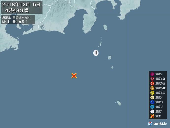 地震情報(2018年12月06日04時48分発生)