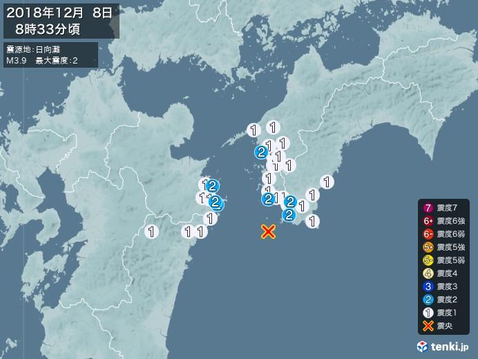 地震情報(2018年12月08日08時33分発生)