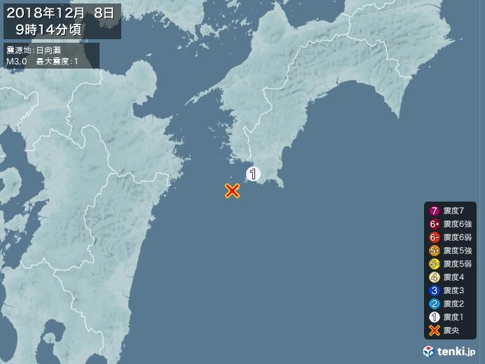 地震情報(2018年12月08日09時14分発生)