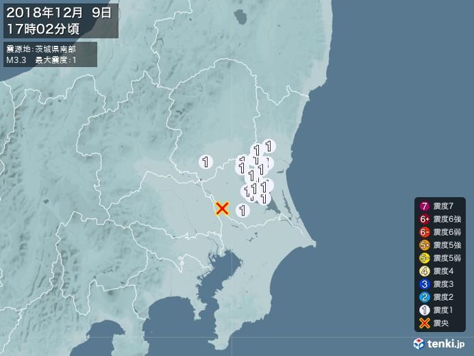 地震情報(2018年12月09日17時02分発生)