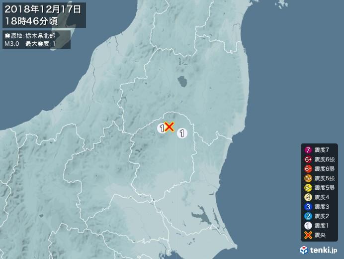 地震情報(2018年12月17日18時46分発生)